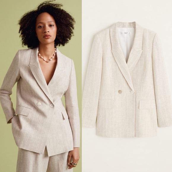 material seleccionado diseñador nuevo y usado conseguir baratas Mango Structured linen jacket blazer